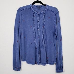 Lucky Brand Flower Embroidered Top Size XL